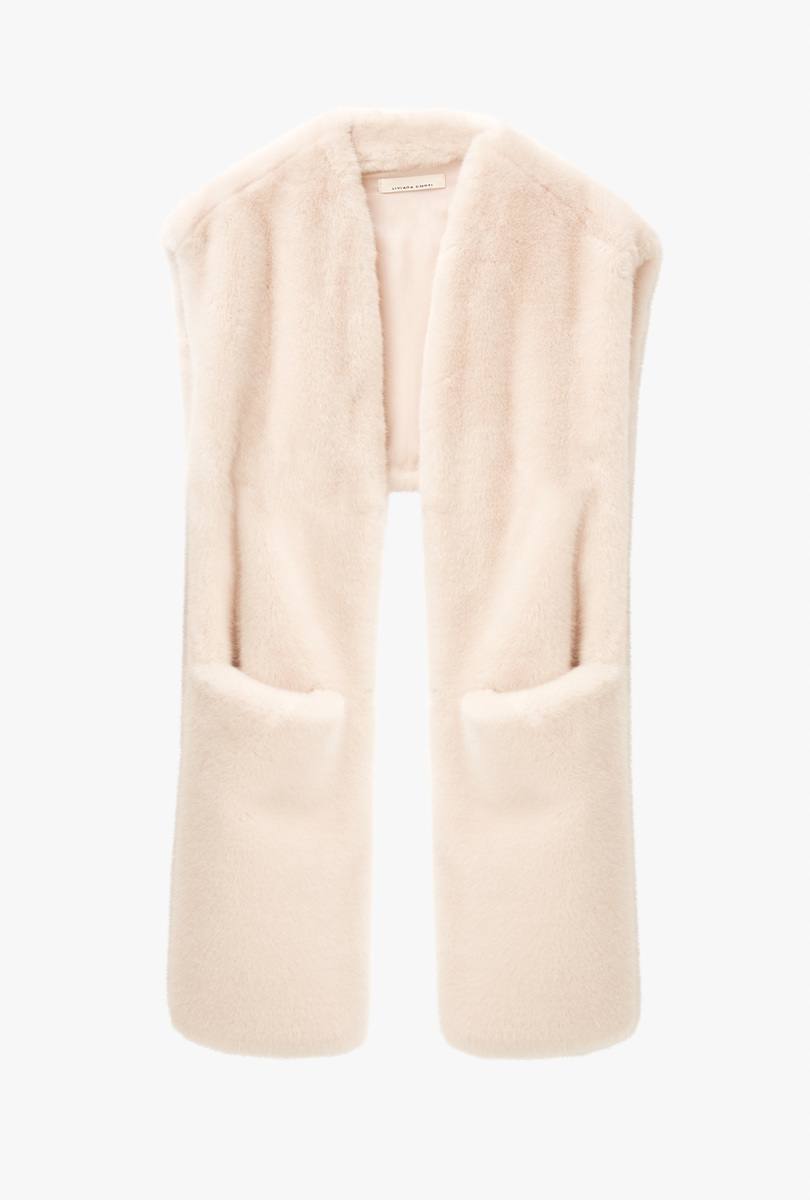 Faux-leather asymmetrical gilet