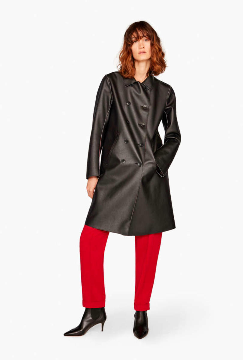 Reversible faux-leather coat
