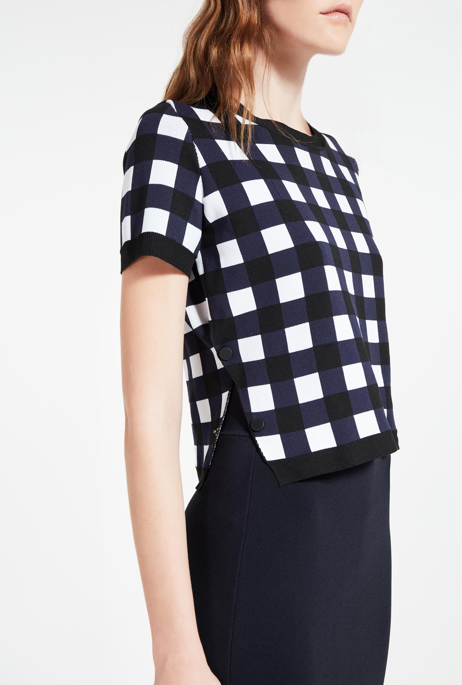 Checked jacquard jumper